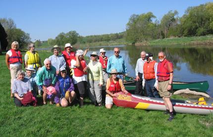 senior canoeing group